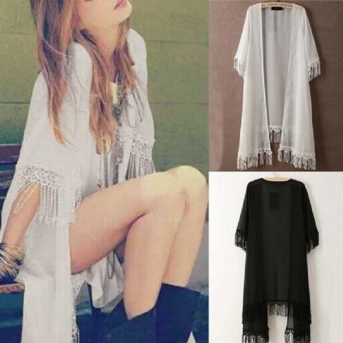 Women Chiffon Lace Kimono Open Cardigan Tassels Jacket Blouse Tops Boho